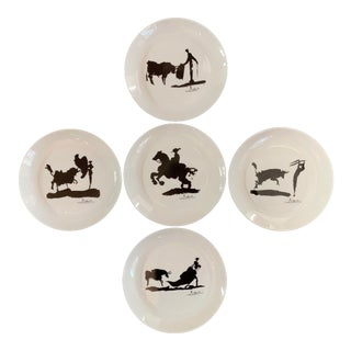 1970s Picasso Bullfight Black & White Graphic Porcelain Appetizer Plates - Set of 5 For Sale