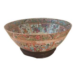 Antique Chinese Rose Mandarin Porcelain Punch Bowl For Sale