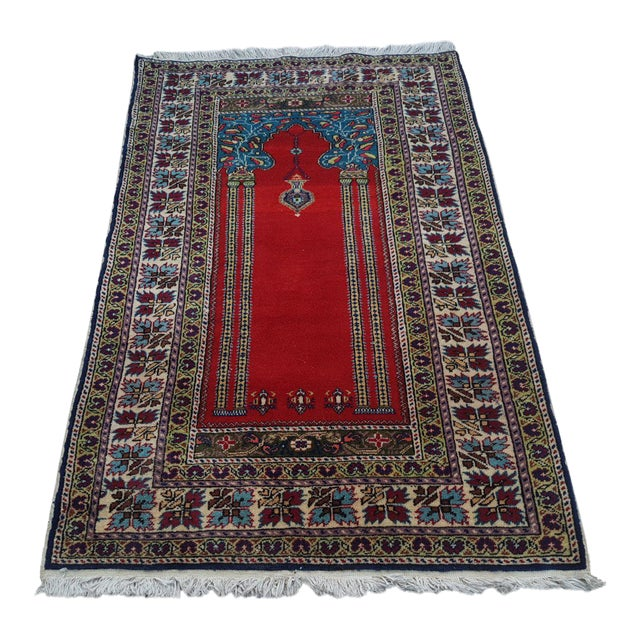1980s Traditional Oriental Handmade Prayer Carpet, Double Knotted Small Sized Pile Rug, Wall Hanging Floor Covering Rugs, 3' X 4'7'' / 92x139cm For Sale