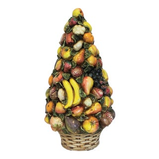Large Vintage Italian Majolica Hand-Painted Ceramic Fruit & Vegetable Topiary Centerpiece For Sale