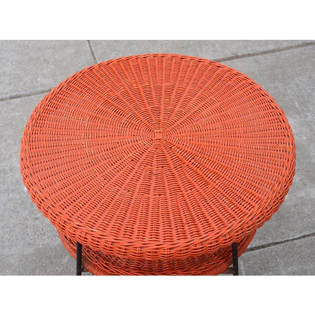 1950s 1950s Mid-Century Modern Carl Aubock Style Red Rattan & Wrought Iron 2-Tier Side Table For Sale - Image 5 of 8
