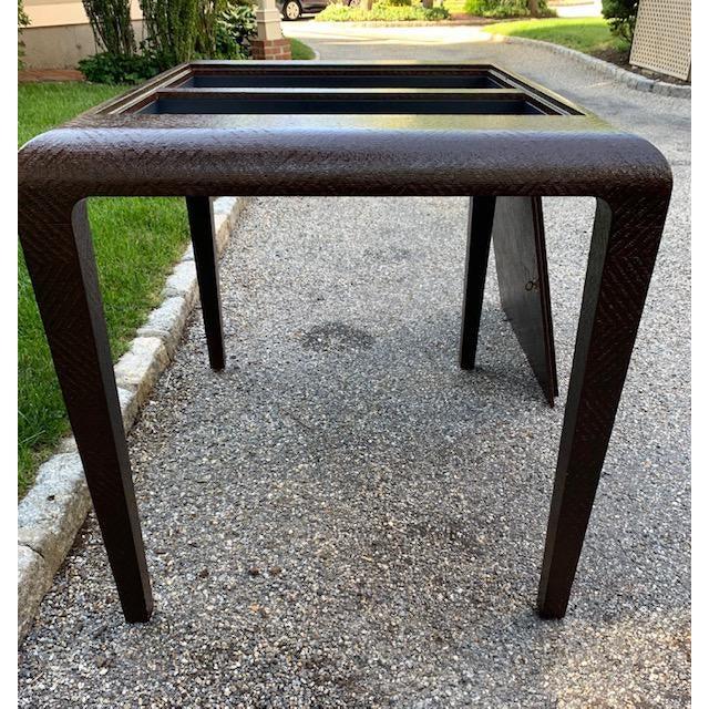 Karl Springer Vintage Karl Springer Grasscloth Covered Backgammon Table For Sale - Image 4 of 11