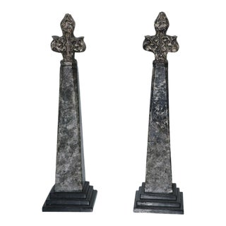 Pair of Stone and Ceramic Architectural Elements For Sale