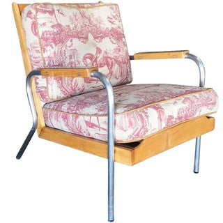 Mid-Century Francois Caruelle Style Blonde Lounge Chair For Sale