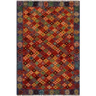 1990s Southwestern Balouchi Franches Orange/Blue Wool Rug - 3'4 X 4'11 For Sale