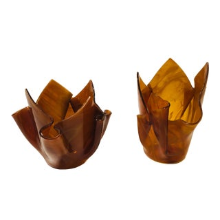 Slag Glass Handkerchief Candle Holders - a Pair For Sale