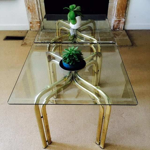 Mid Century Brass & Glass Side Tables - a Pair - Image 3 of 9