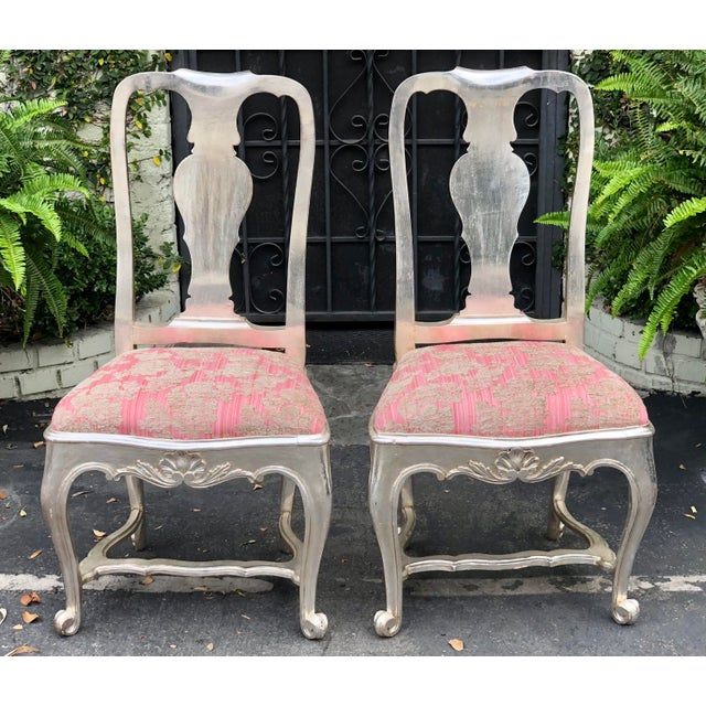 18th Century Antique George III Silverleaf & Pink Velvet Side Chairs - a Pair For Sale - Image 5 of 5
