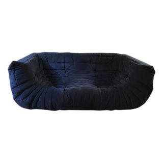 Ligne Roset Navy Alcantara Togo Sofa For Sale