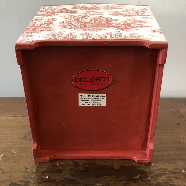 Late 20th Century Vintage Pink Toile Wastebasket For Sale - Image 5 of 6