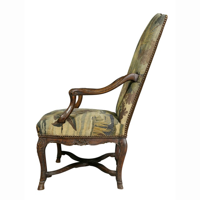 Regency Walnut and Tapestry Armchair For Sale - Image 10 of 12
