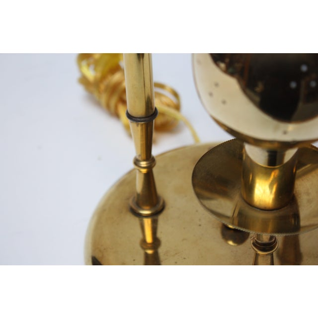 American Modern Brass Three-Fixture Table Lamp For Sale - Image 4 of 9