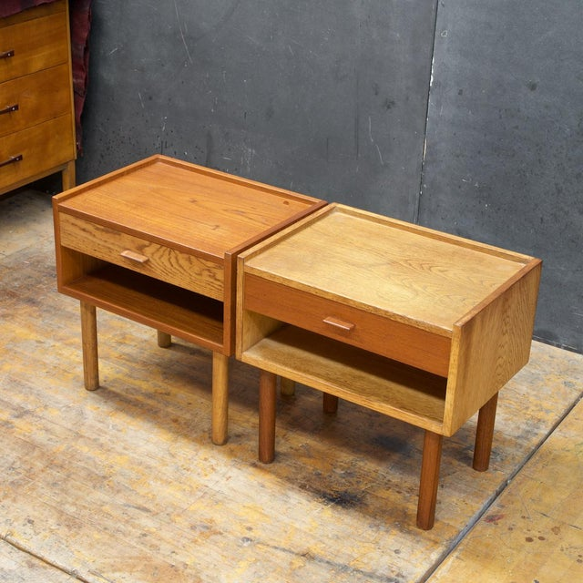 Hans Wegner Bedside Nightstand Pair Vintage Mid Century Modern Ry Mobler Teak Oak For Sale - Image 10 of 10