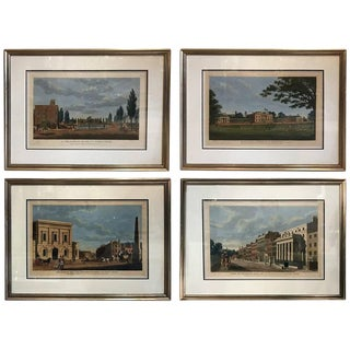 Set of Four Framed English Hand Colored Copper Engravings For Sale