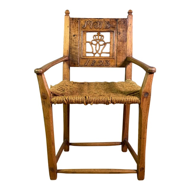 1823 Danish Carved Pine and Rope Armchair, Crowned Monogram For Sale