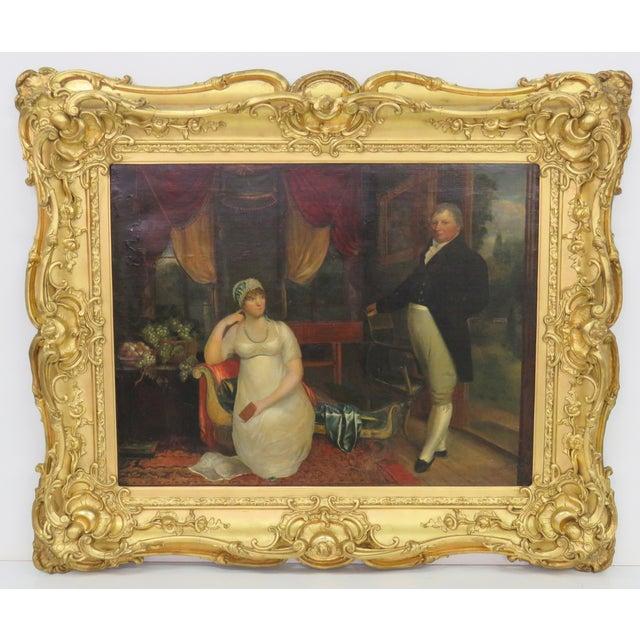 19th C. Painting Portrait of Lady & Gentlemen - Image 2 of 11