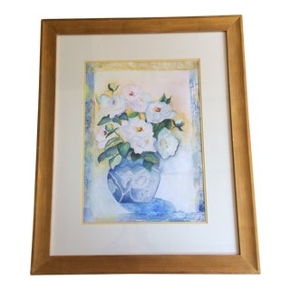 Framed Floral Watercolor Painting by Dianne Mattar For Sale