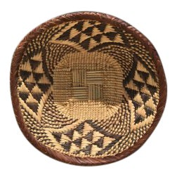 African Vintage Handwoven Flat Basket - Small