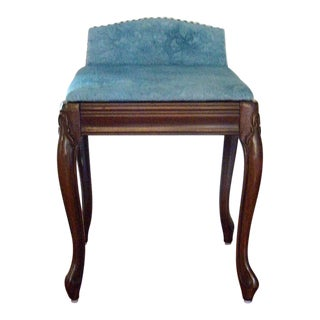 1980's Vintage Upholstered Small Bench For Sale