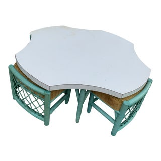 Final Markdown Vintage Palm Beach Regency Bamboo Table and Chairs - 5 Pieces For Sale