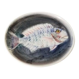 Vintage Leddi Laveno Hand Painted Ceramic Plate . For Sale