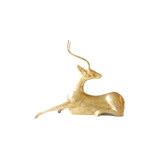 Large Brass Gazelle Ibex Seated Statue For Sale
