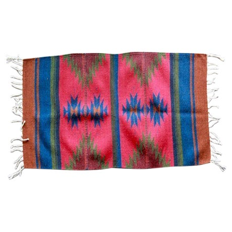 """Mexican Pedal-Loom Red Rug - 2' x 3'3"""" - Image 1 of 4"""