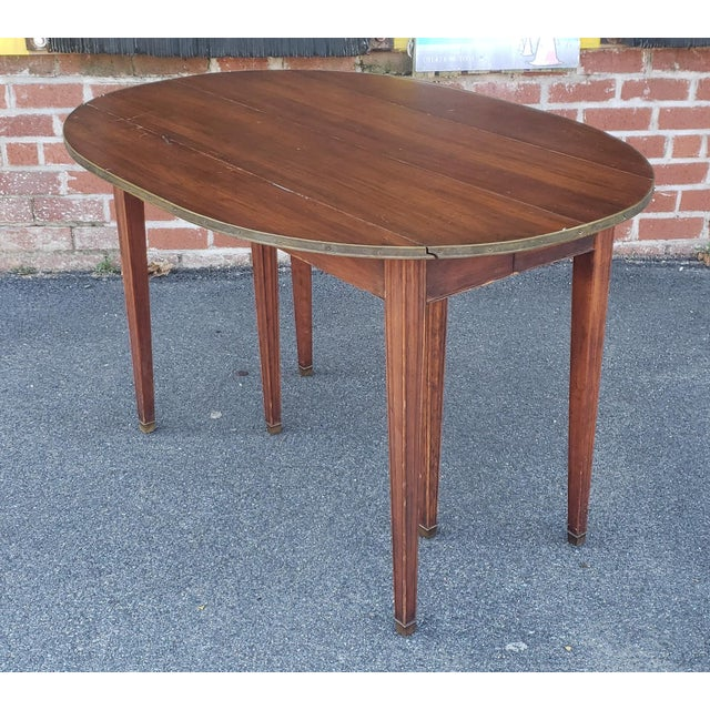 20th Century Mahogany Regency Style Brass Edge Drop Leaf Dining Room Table W/ 4 Leaves C1950 For Sale - Image 11 of 13