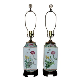 Porcelain Chinese Export Lamps - A Pair For Sale
