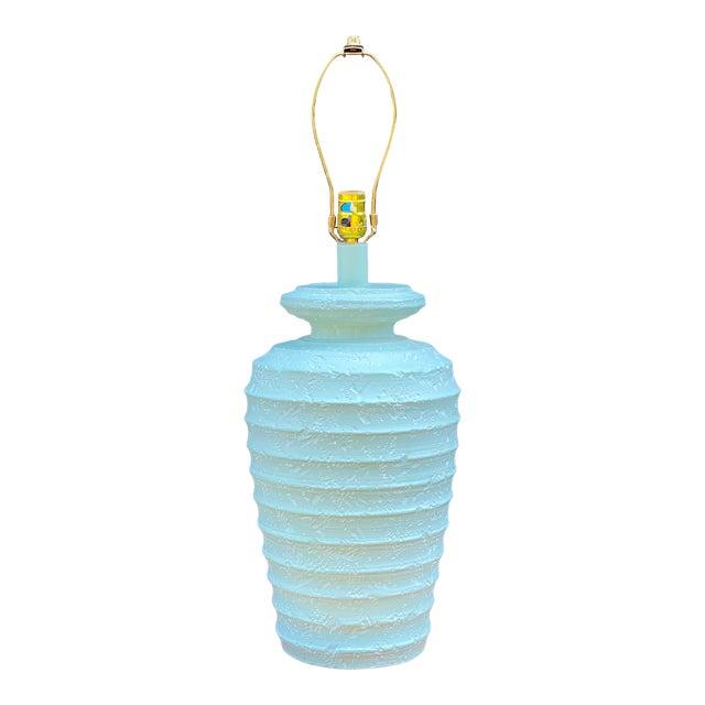 1980s Alsy Light Blue Plaster Table Lamp For Sale