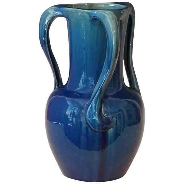 Large Kyoto Pottery Antique Art Nouveau S Handled Blue Monochrome Vase For Sale - Image 10 of 10