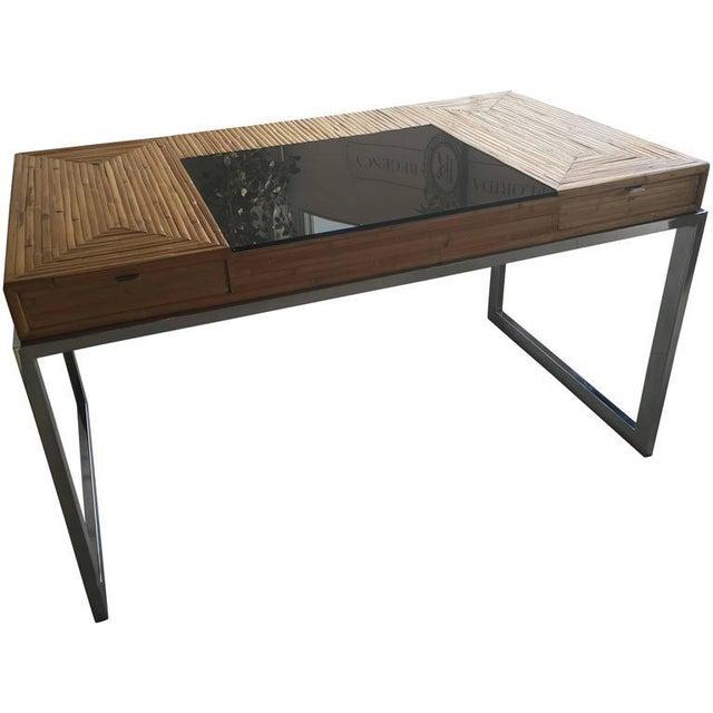 Milo Baughman Bamboo & Chrome Desk - Image 10 of 11