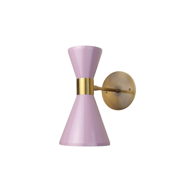 Blueprint Lighting Campana Wall Sconce in Brushed Brass + Lilac Enamel, Blueprint Lighting For Sale - Image 4 of 5