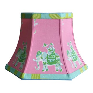 Pink Lampshade Tropical Lilly Pulitzer Fabric Coastal For Sale