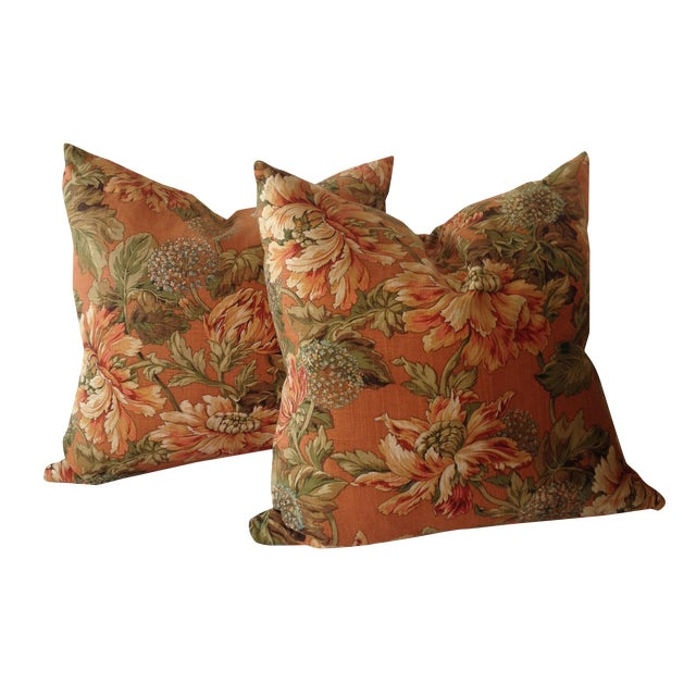 Newport Orange Floral Pillows - S/2 - Image 1 of 8