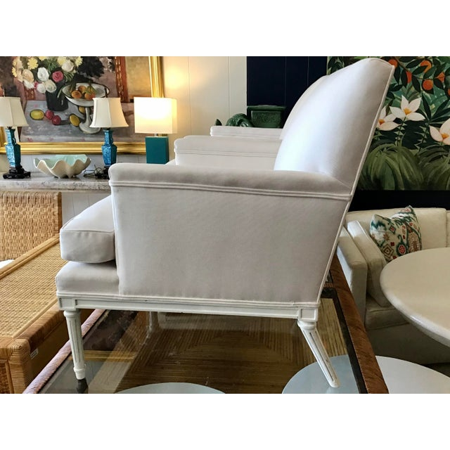 French 1940's Louis XVI Club Chairs in New Sunbrella Upholstery- a Pair For Sale - Image 4 of 11