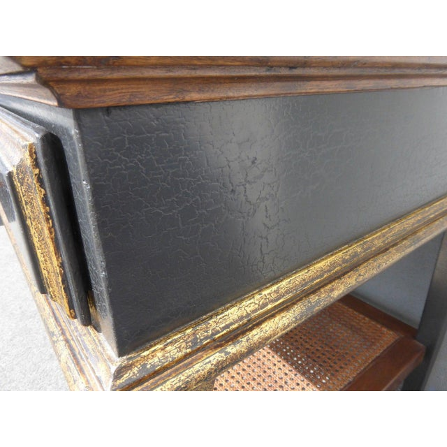 Wood Hollywood Regency Black & Gold Crackle Finish Library Console Table For Sale - Image 7 of 11