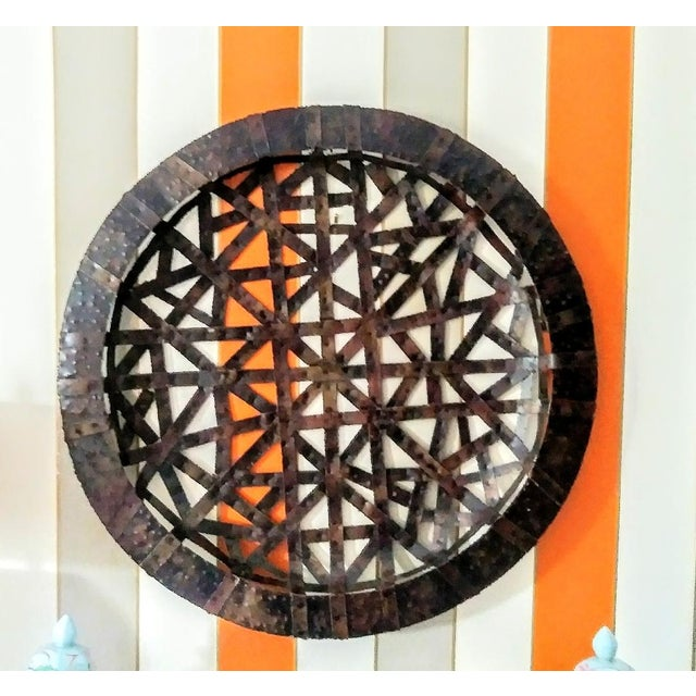 Brutalist Palecek Vintage Gigantic Welded Strips of Metal Wall Decor Platter For Sale In West Palm - Image 6 of 6