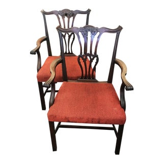 Early20th Century Vintage Mahogany Chippendale Chairs- A Pair For Sale