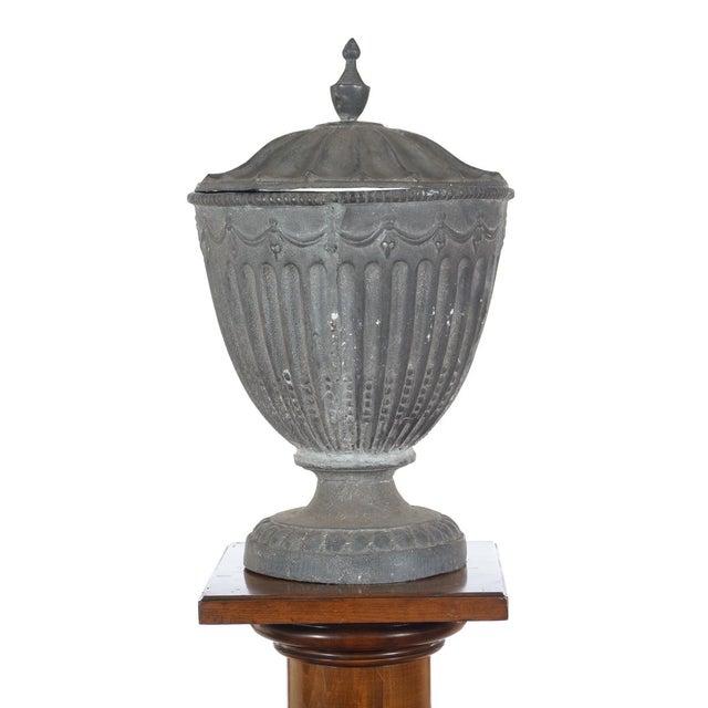 Antique Large Outdoor Lidded Metal Urn For Sale - Image 4 of 9