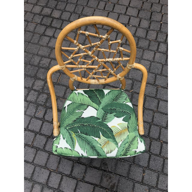 Vintage McGuire Palm Cushion Cracked Ice Rattan Chair - Image 6 of 11