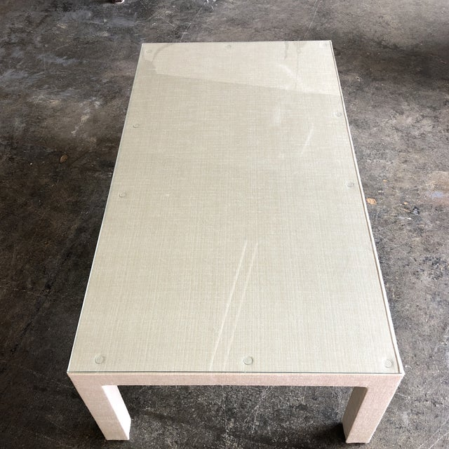 2010s Sunbrella Upholstered Custom Coffee Table For Sale - Image 5 of 8