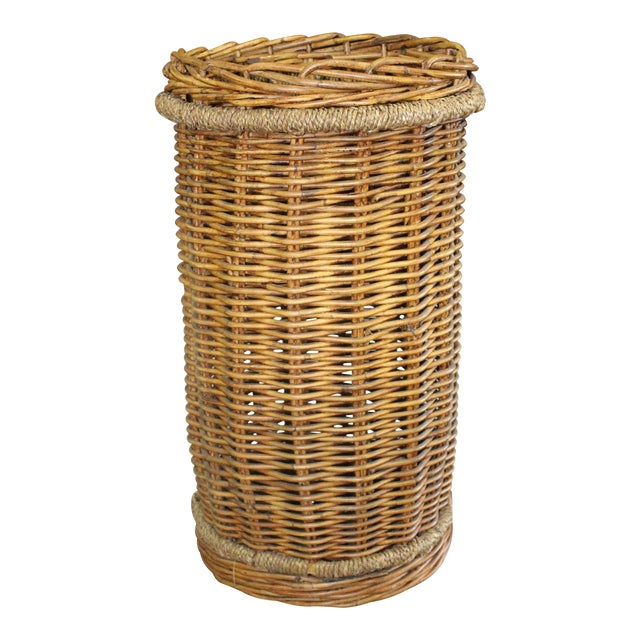20th Century Country Tall Wicker Basket For Sale