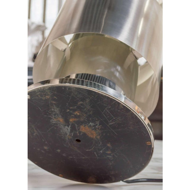 Metal Stainless Steel Table Lamp Attributed to Willy Rizzo For Sale - Image 7 of 10