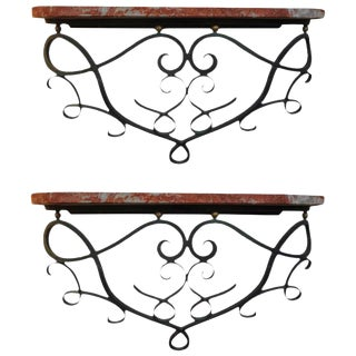 1940's French Art Deco Jean Royere Inspired Wrought Iron Wall Consoles - a Pair For Sale