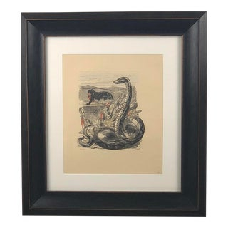 Antique Paul Jouve Panther and Boa Gravure Framed Print For Sale