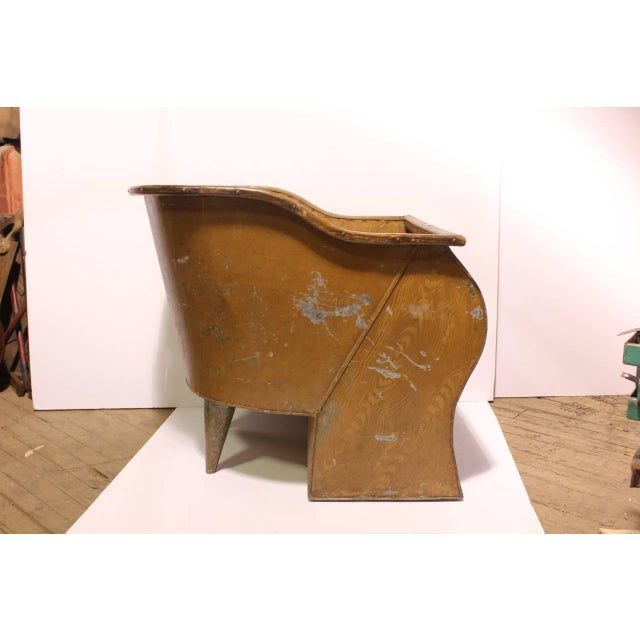 Traditional Antique American Tin Sit Bathtub For Sale - Image 3 of 6