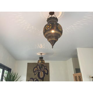 Antique Moroccan Brass Lantern With Colored Glass Preview