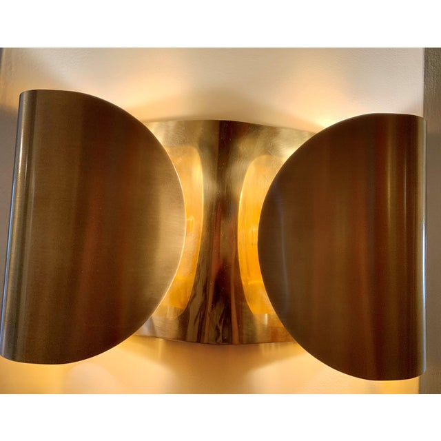 2010s Mid-Century Modern Folded Brass Sconces - a Pair For Sale - Image 5 of 8