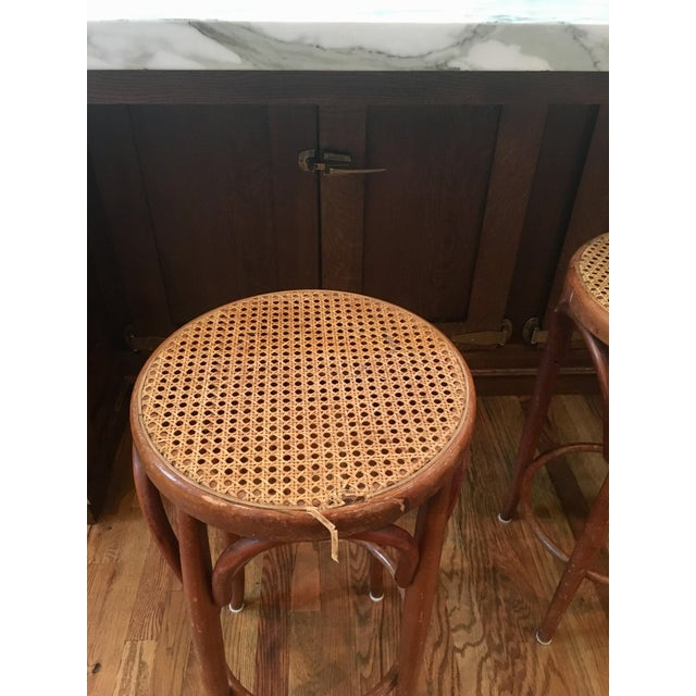 Mid-Century Thonet Style Bentwood Stools - Set of 3 For Sale - Image 9 of 11